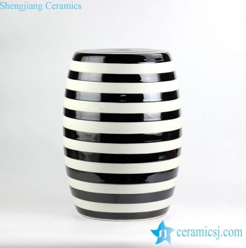 Black and white stripe glazed porcelain garden seat stool