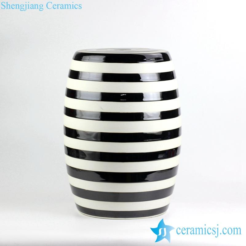 Black and white stripe glazed porcelain garden seat stool