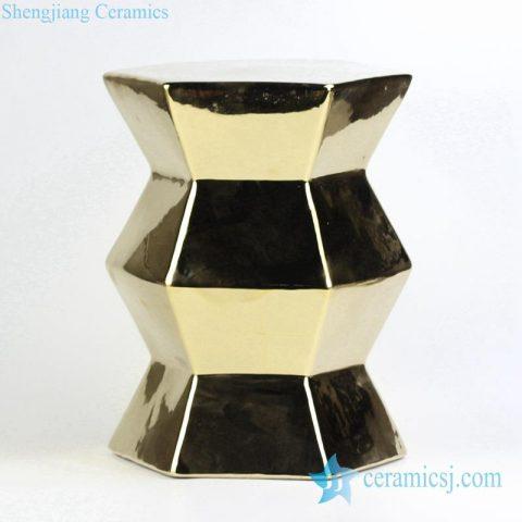 golden plated diamond porcelain  stool