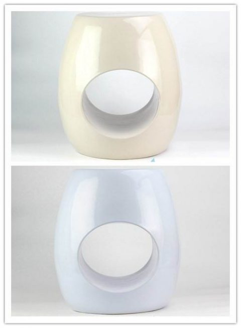 CREAM COLOR GLAZE RING HOLE CERAMIC STOOL