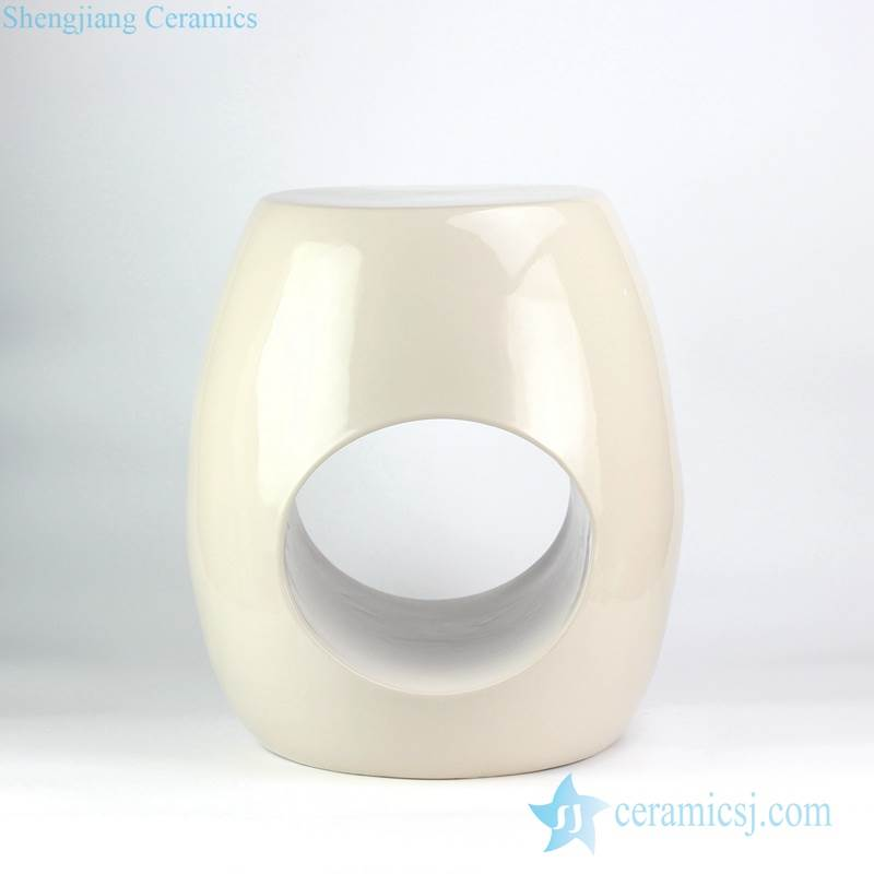 CREAM COLOR GLAZE RING HOLE PORCELAIN STOOL