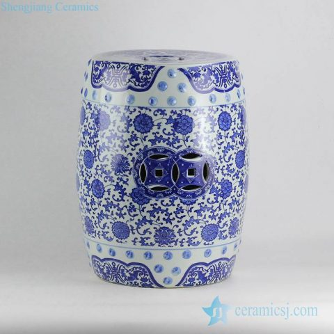 Floral pattern blue and white cheap bathroom porcelain stool