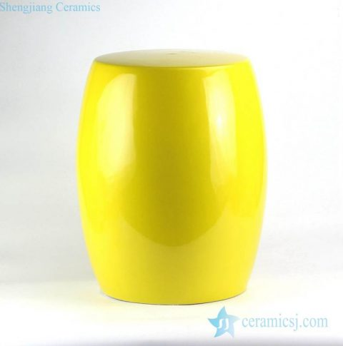 Lemon yellow solid color interior design side table usage porcelain stool