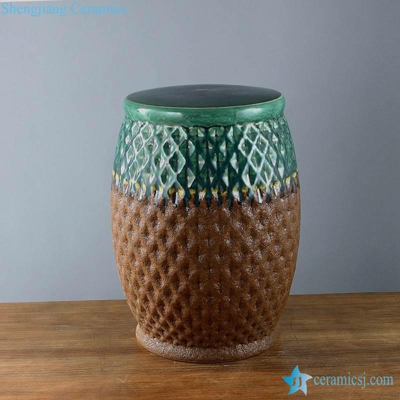 carved gridding design porcelain stool