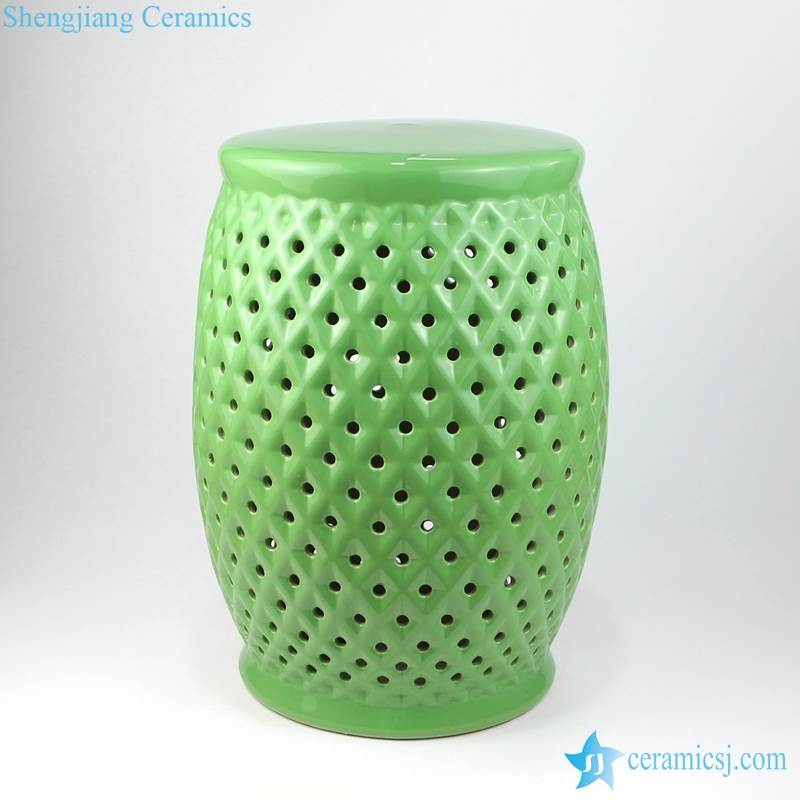 green grids porcelain stool