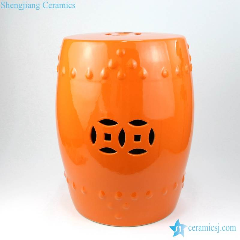 orange stool with hollow decoration