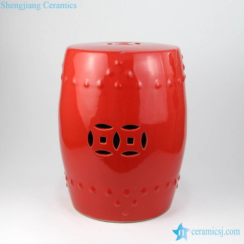 red stool with hollow decoration
