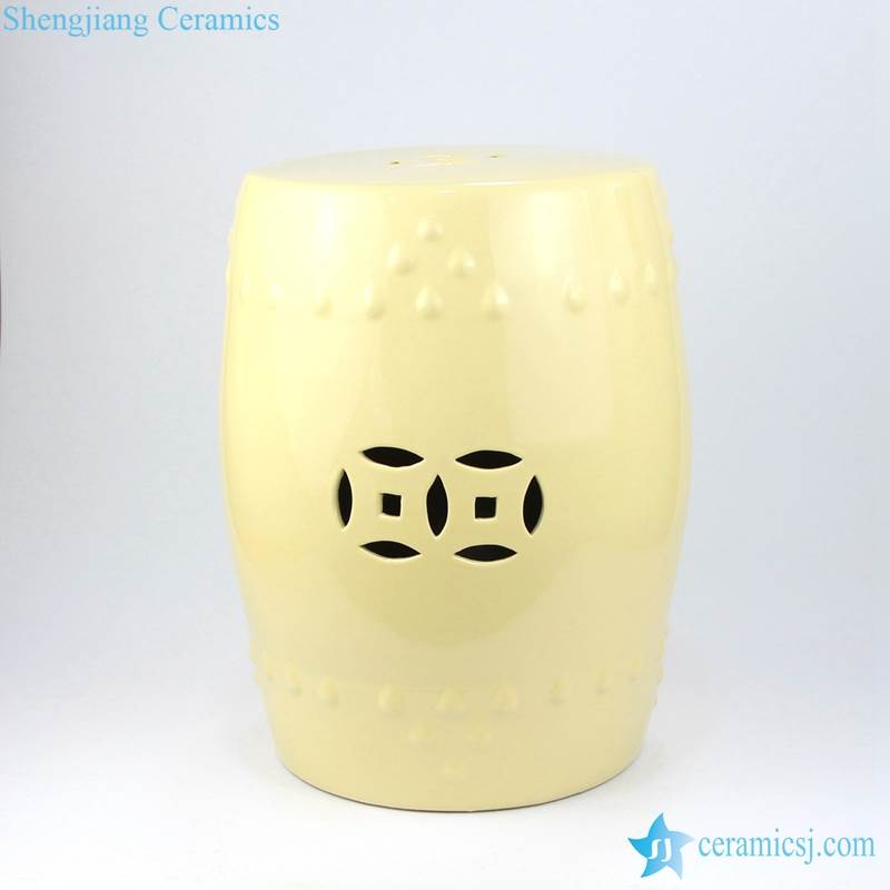 milk color stool with hollow decoration