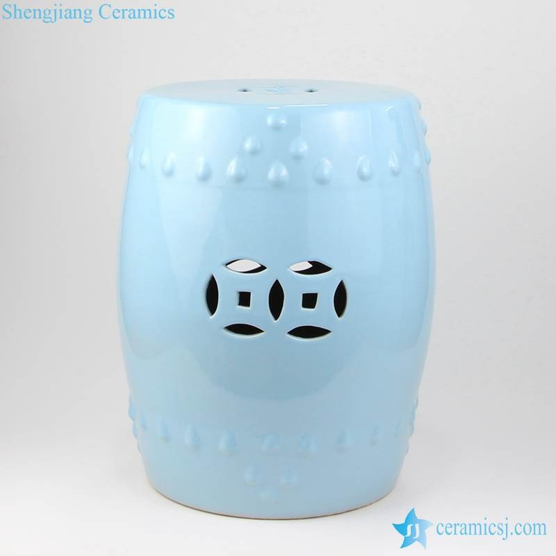 light blue stool with hollow decoration