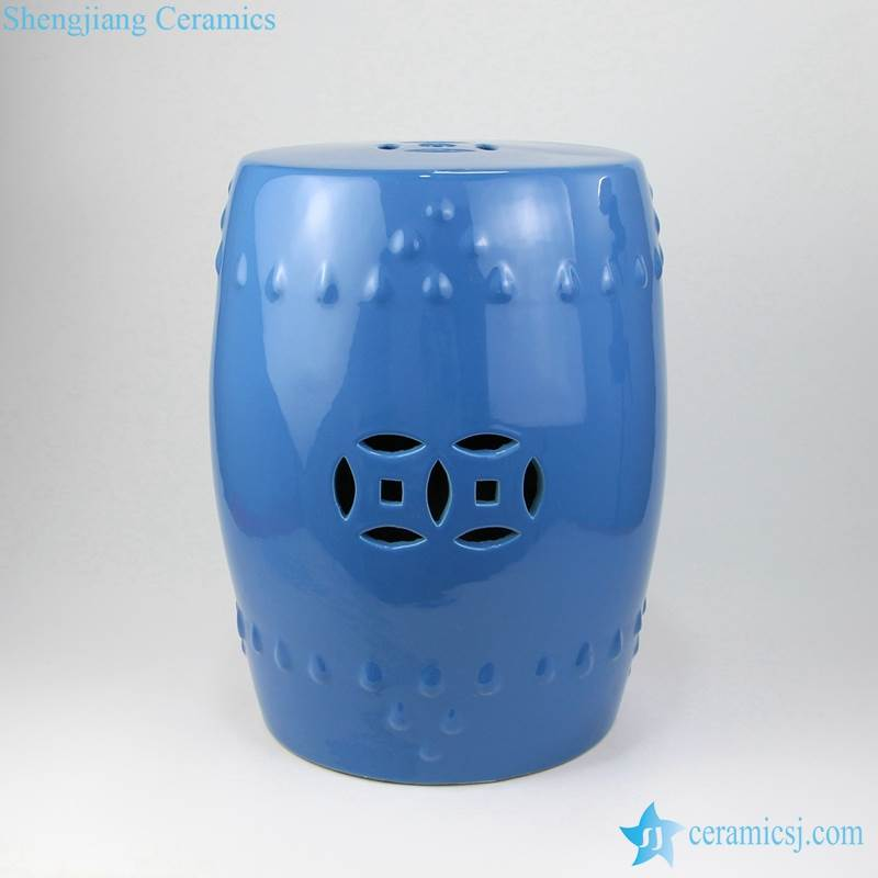 blue stool with hollow decoration