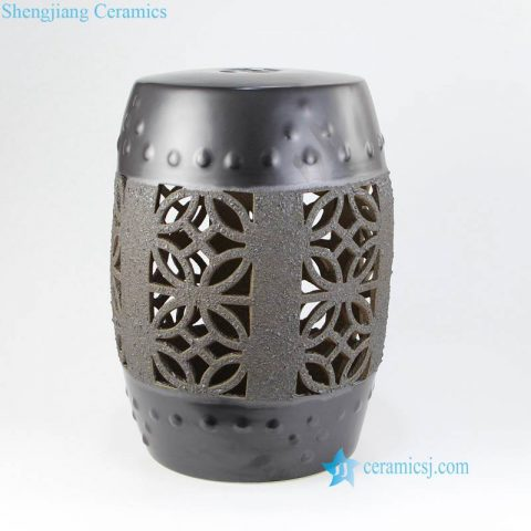 matte black ceramic stool with hollow decoration
