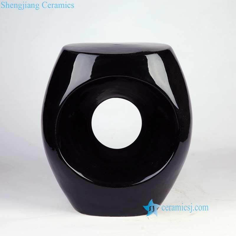 china ceramic stool with hole black color