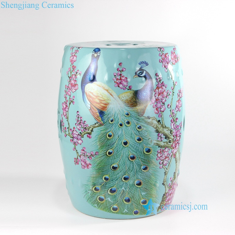 china  flower peacock ceramic stool