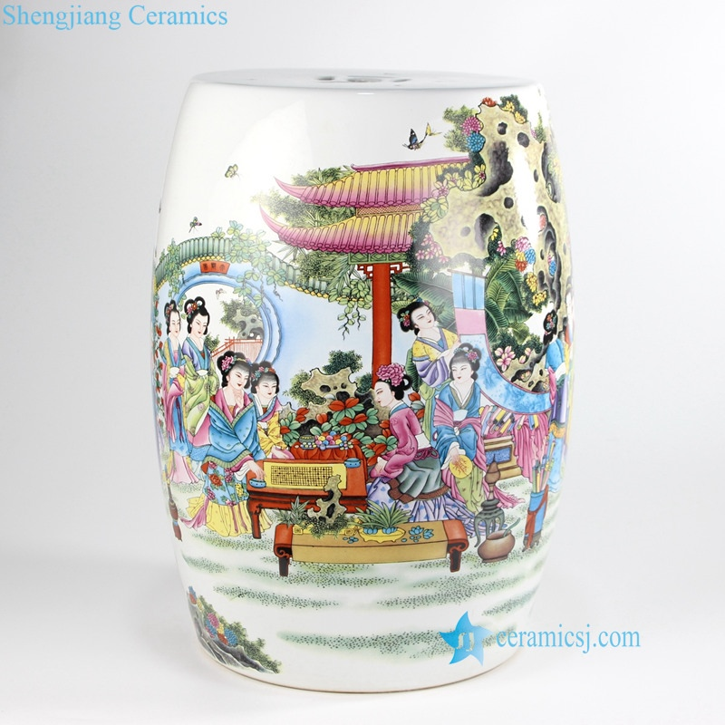 chinese ancient buautiful ladies porcelain gardon stools