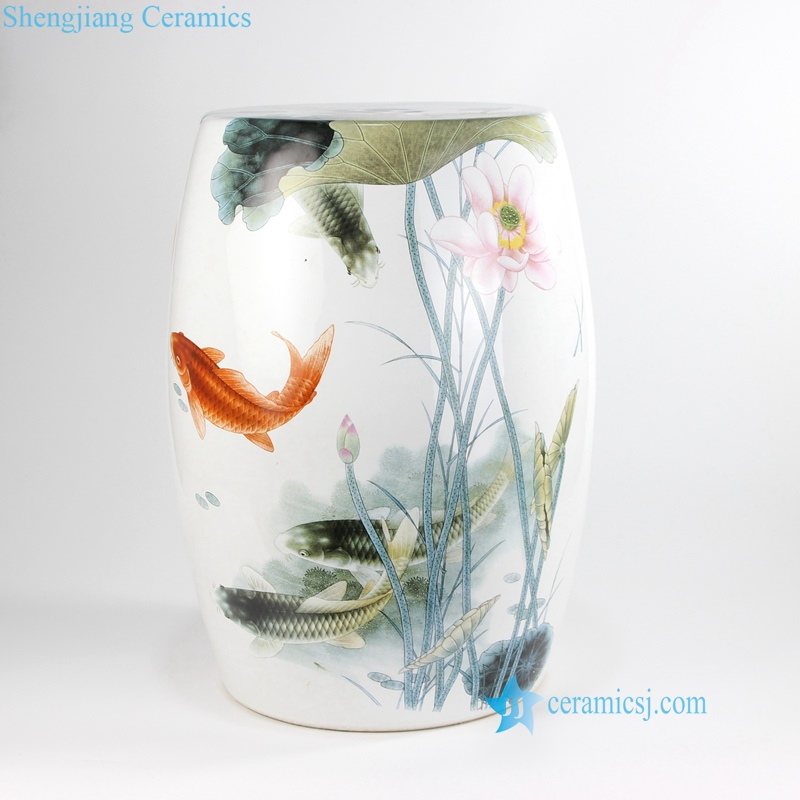 china lotus flower and fish porcelain  stools