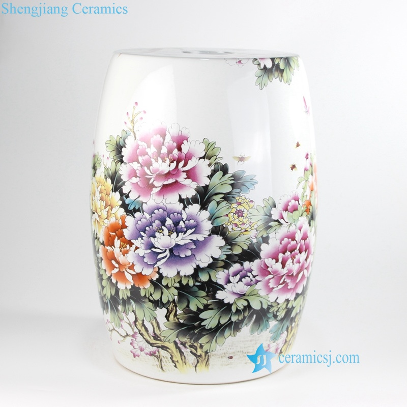 china colorful Rich Peony ceramics  fields and gardens  countryside stool