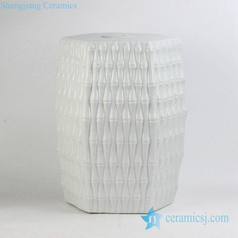 bamboo weaving style pure white Jingdezhen ceramic stool