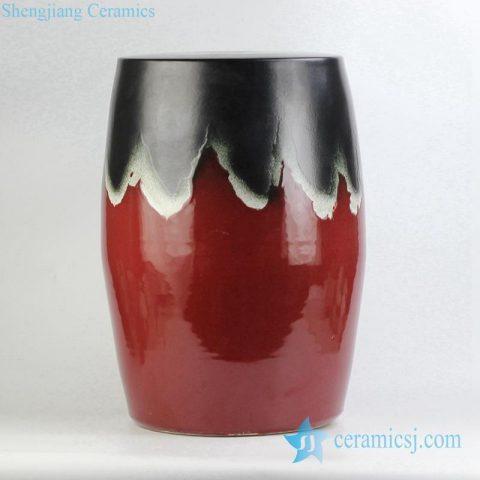 transitional glaze red and black porcelain  stool