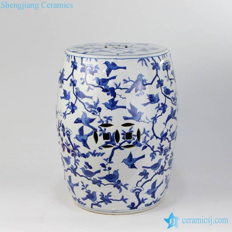 bird tree porcelain seat with hollow decoration