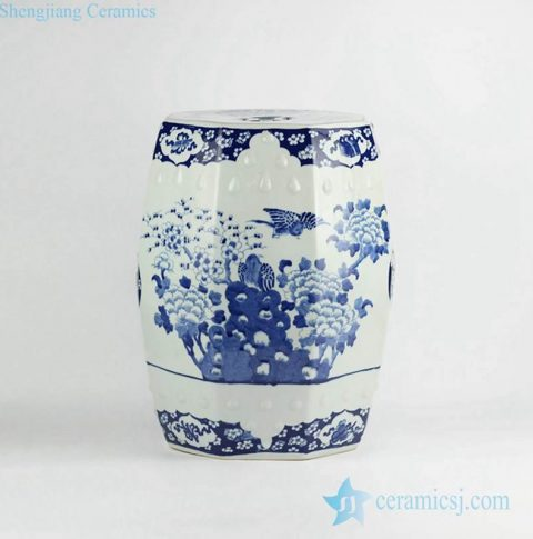 Luxury hand paint bird peony pattern blue and white porcelain ornament stool