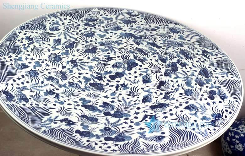 blue fish and sea weed pattern porcelain table