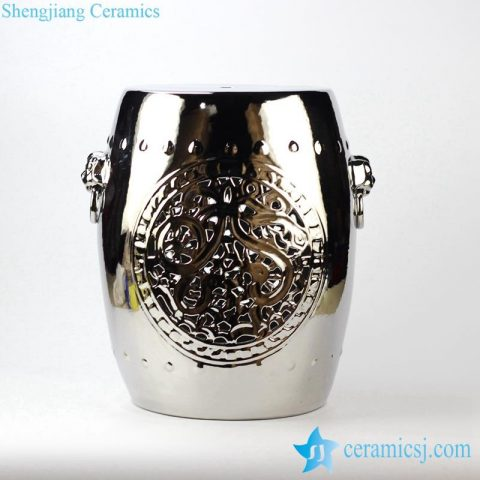 silver plated carved ceramic stool made in China