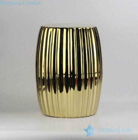Pleated surface design end table usage golden gilded ceramic stool