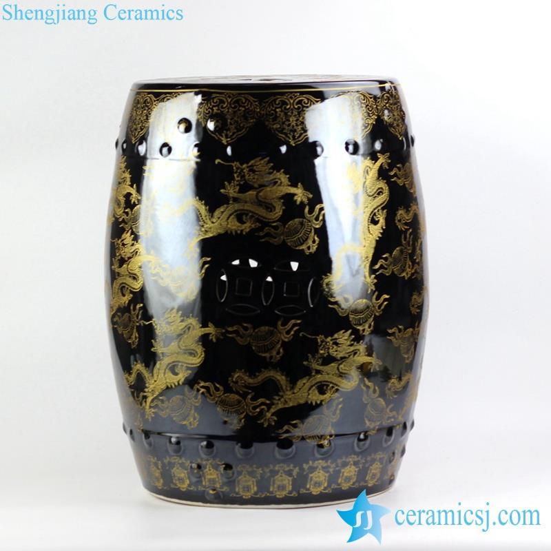 under black mirror glaze golden fire dragon pattern Jingdezhen China original porcelain patio stool