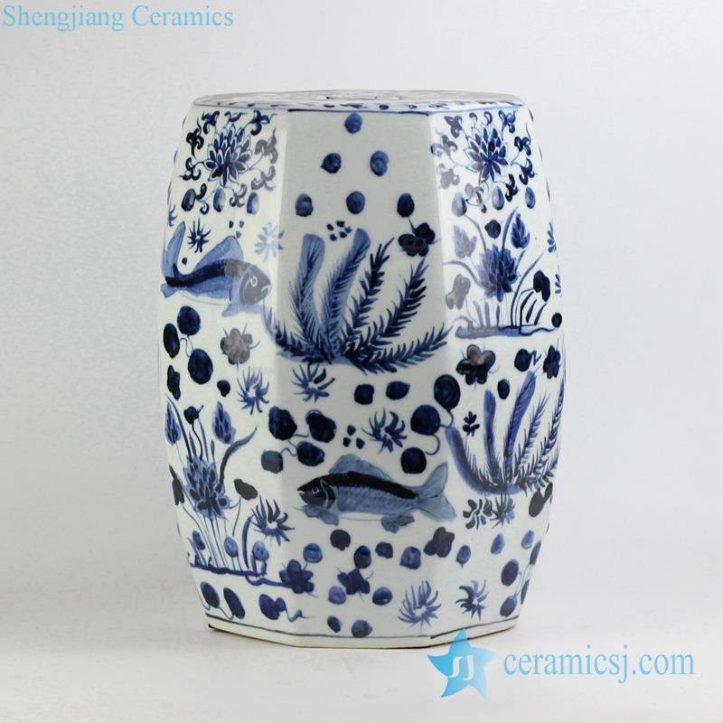 Six side blue and white fish and aquatic planter pattern porcelain stool