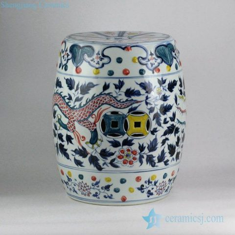 Colored intersperse blue and white hand paint China dragon and phoenix pattern wedding porcelain stool