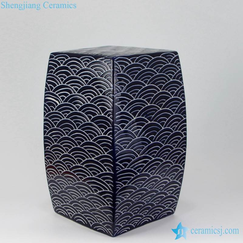concave-convex sea wave porcelain stool