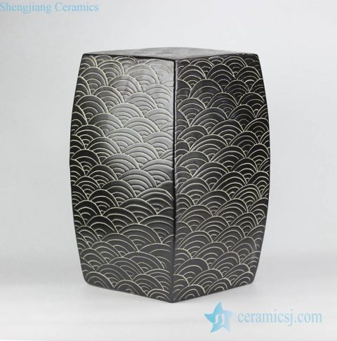 concave-convex touching feel black sea weave design ceramic square end table usage porcelain stool