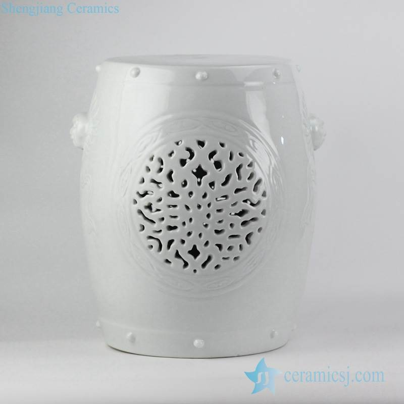 white color carved porcelain lawn stool for outdoor with lion handle