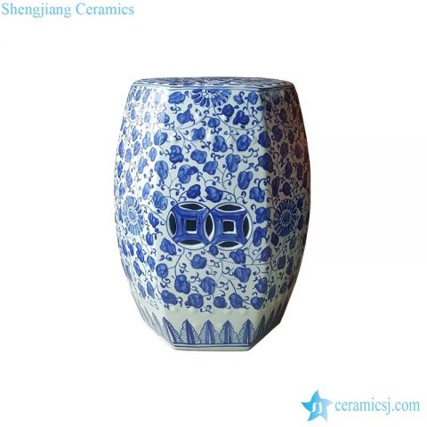 6 sides small floral stool