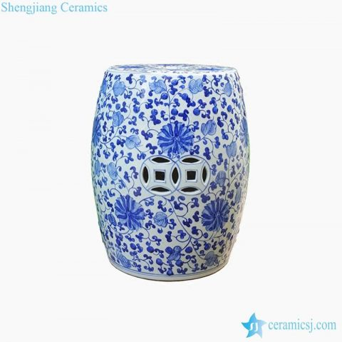 lotus pattern porcelain stool with hollow decoration