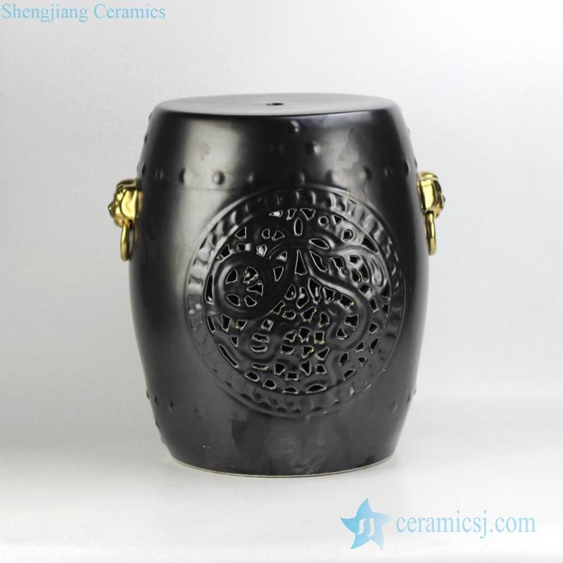 Golden lion ring handle black solid color glaze carved ceramic ottamen