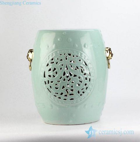 Celadon glaze golden pleated lion ring handle carved porcelain seat
