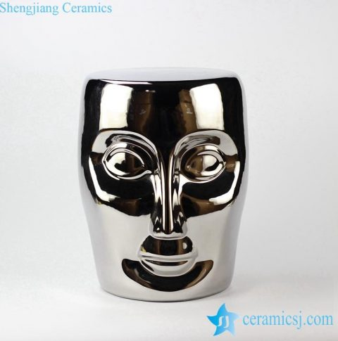 silver plated ceramic human face  porcelain stool