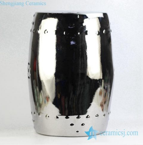 silver plated drum nail design porcelain  stool