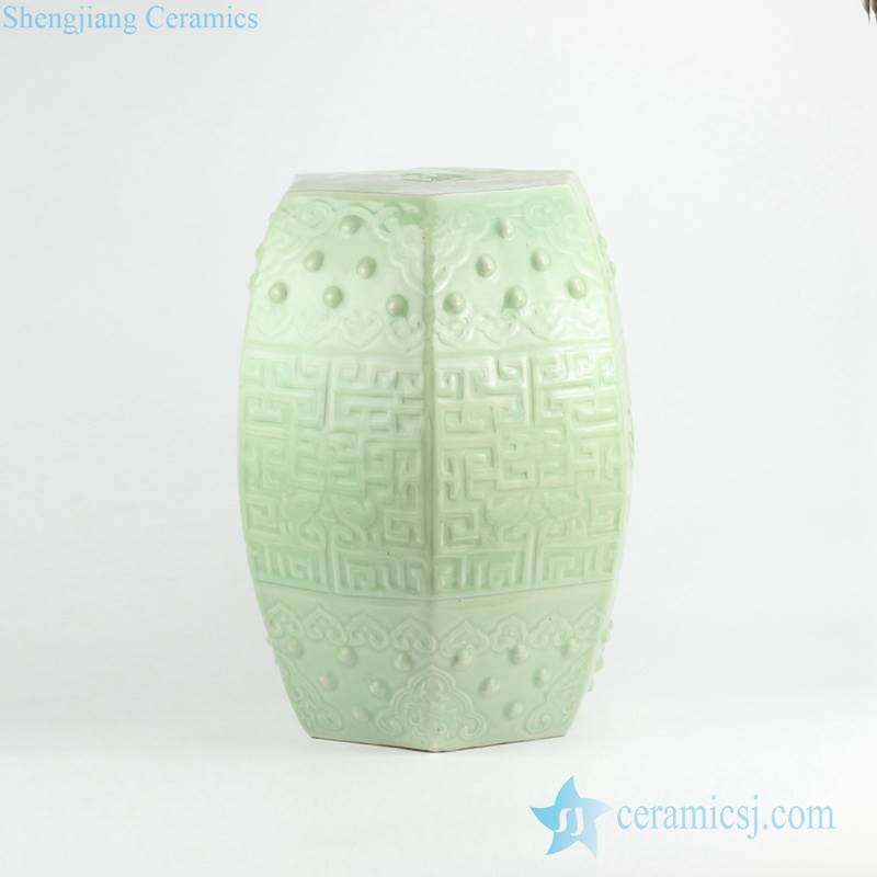 Pistachio green color celadon embossed ceramic  stool