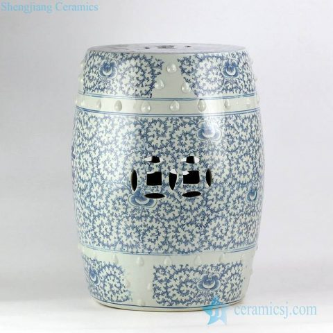 blue and white double happy letter Chinese wedding lawn porcelain stool