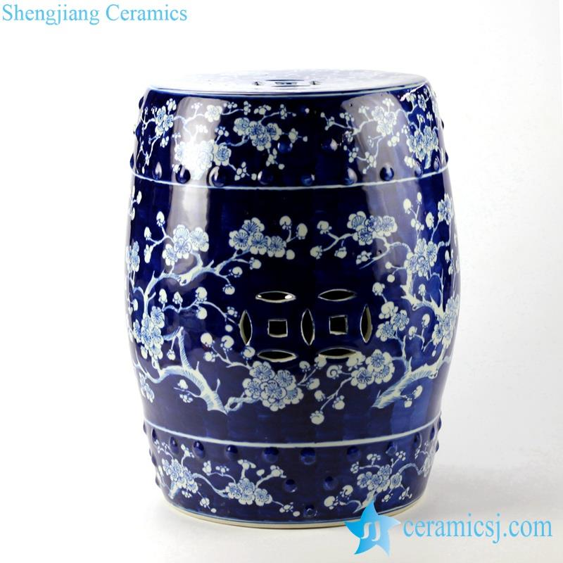 blue and white winter sweet pattern porcelain  stool