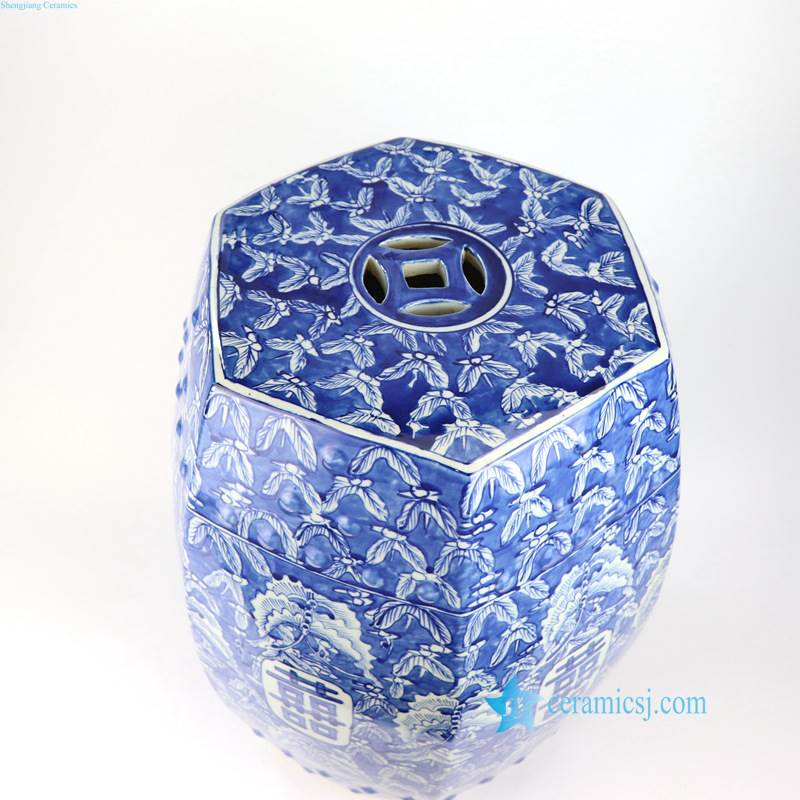 BUTTERFLY DOUBLE HAPPINESS CHINA STOOL WITH HOLLOW DECORATION ON THE SUFRFACE