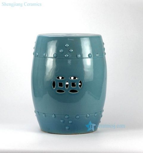 Green blue color small crackle glaze porcelain veranda stool
