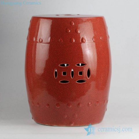 Hot sale red color with crackle porcelain  lounge stool