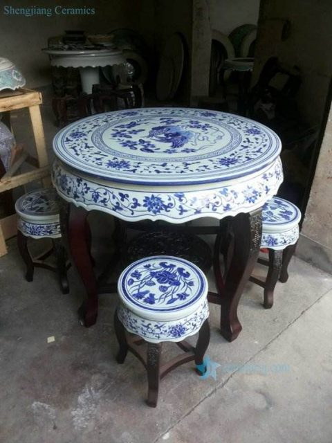 Hand paint Chinese mandarin couple ducks and lotus pattern wood and porcelain mixed style table and stool