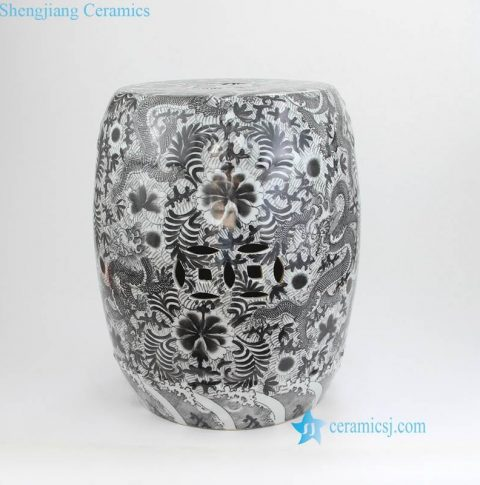 thousand different flower pattern black porcelain stool