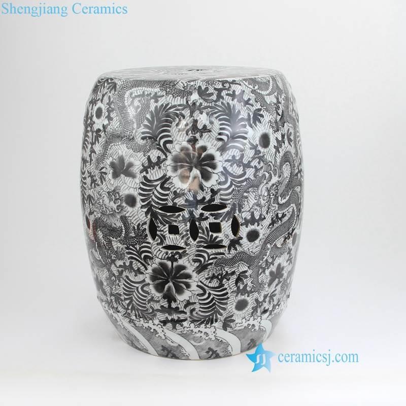 thousand different flower pattern black porcelain stool