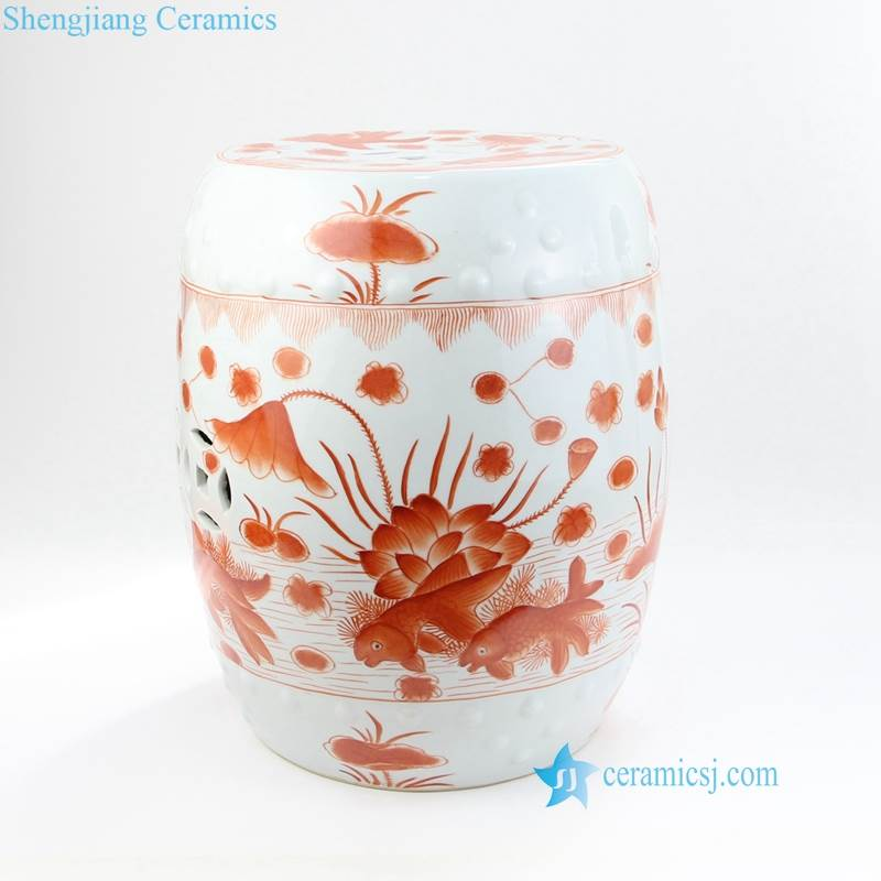 red lotus pond pattern china stool