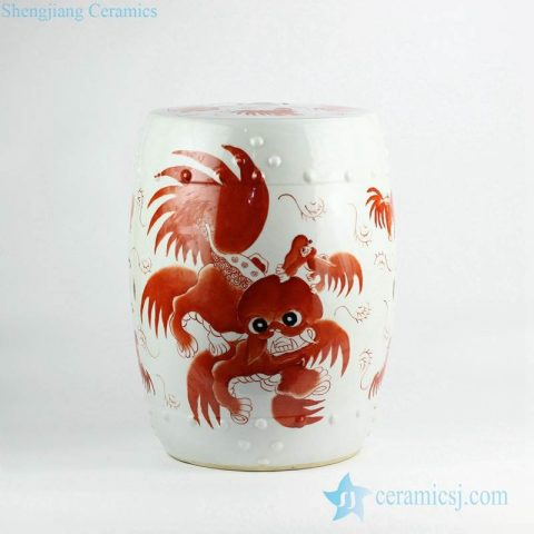 Bright red color dancing fire lion pattern hand paint ceramic outdoor stool